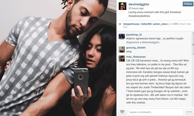 Photo of Netizen Riuh Komentari Selfie Mesra Agnez Mo & Devin