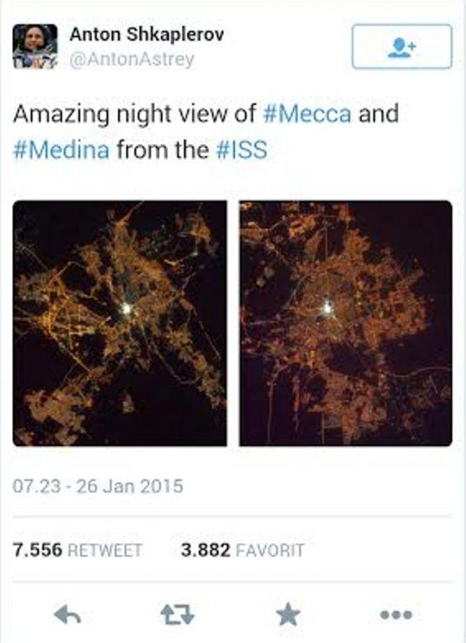 Kosmonot Rusia Takjub dengan Penampakan Kota Makkah dan Madinah